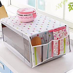 ShopAIS 1Pc Romantic Microwave Oven Cover With 2 Pouch Dustproof Cotton Cloth Cover Romantic Style Microwave Oven Set - (Assorted Colour And Design)