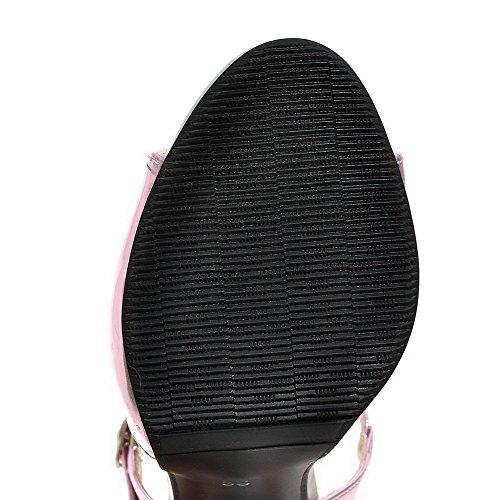 Donna VogueZone009 Punta Heeled Tacco Di Sandals Fibbia Pelle Aperta Rosa Alto Maiale 14d4qw