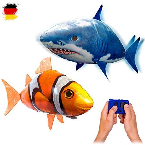 MEGA-SET bestehend aus 2 x riesengroße Fische RC R/C ferngesteuerter fliegender Fische - Clownfisch + Sharky Hai - Ferngesteuerte Riesenfische, Mit Helium gefüllt schwebt er in der Luft, Neu (Shark Hubschrauber Ferngesteuerter)