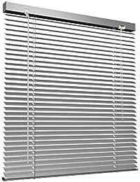 Victoria M Store vénitien en aluminium pour fenêtres et portes - sans pré-perçage, clips de serrage inclus - 135 x 220 cm argent