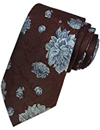TED BAKER London Mens 100% Woven Silk Neck Tie Necktie Cognac Brown Blue Floral