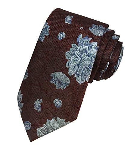 Ted Baker London Herren Krawatte aus 100% gewebter Seide, Cognac Braun Blau mit Blumenmuster