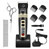 OMORC Dog Clippers Professional, 3 Speed Quiet Rechargeable Cordless, Smart Indicator, Dog Grooming Clippers Set Pet Grooming Kit for Small and Large Dogs Cats, 4 Guide Combs, Black
