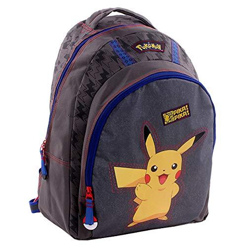 Vadobag-Mochila-Escolar-40-x-31-x-15-cm-Pokemon-Pika-Pika-Gris-Nios-Bolsillo