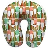 Cuscino da viaggio a forma di U Cuscino da viaggio Auto Aeroplano Bottiglie di vino Bicchieri Colori vivaci Motivo Web Poster Stampa tessile Altro re Rosso pastello