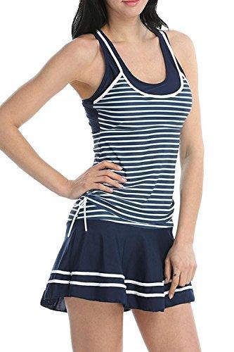 Frauen Heißen Ärmellose Streifen Rückenfrei 2 Stück Badeanzug Skirtini Blue M -