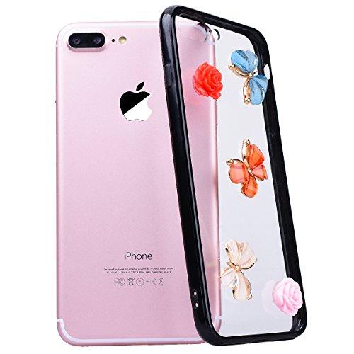 WE LOVE CASE Coque iPhone 7 Plus, Transparente Coque de Protection en Premium Hard Plastique Dur Coque iPhone 7 Plus Anti Choc Bumper Mince Clair, Anti-Rayures Anti-dérapante Coque Apple iPhone 7 Plus Papillon