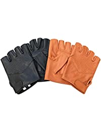 Real leather foam padded half finger classic bus driving cycling wheelchair fashion gloves 312