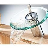 Wasserfall-Badezimmer-Hahn - Rundglasauslauf Waschtischmischer Tap, Einhand-Loch Bathroon Spülbatterie, Badarmaturen Messingkörper Chrom-Finish