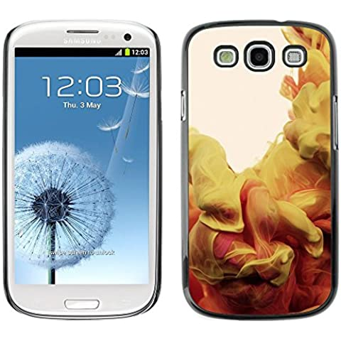 GIFT CHOICE / Dimagriscono Duro Custodia protettiva Caso Cassa Slim Hard Protective Case SmartPhone Cover for Samsung Galaxy S3 // Cool Yellow Red Dye Motion Art //