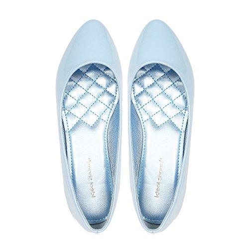 Ideal Shoes - Ballerines vernies classiques Patsy Bleu