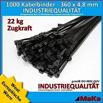 200 Stck Kabelbinder schwarz 450 x 7,6 mm Europäische Ware Industriequalität