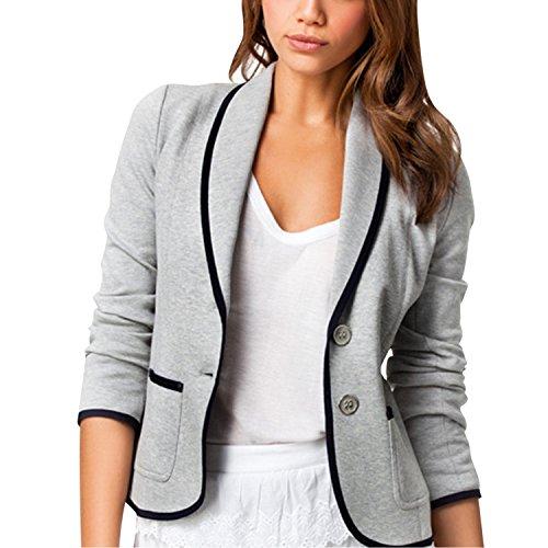 LAEMILIA Damen Anzug Grau Elegant Stehkragen Langarm Tunika Lässig Slim Fit Seittaschen Knopfleiste Mantel Frühling Tops Coat Büro
