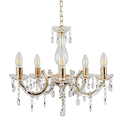 Decorative Shabby Chic 5 Way Marie Therese Ceiling Light Chandelier in a Gold Finish with Clear Acrylic Droplets