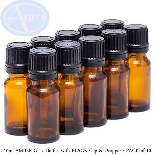 Bouteilles de verre ambrées, 10ml, pack de 10.