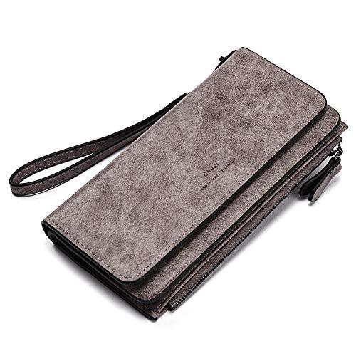Geldbörse Damen Ölwachs PU Leder Lang Clutch Portemonnaie Frauen viele Kartenfächer Veranstalter grau -