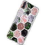 Herbests Kompatibel mit Huawei Honor 8X Marmor Hülle Transparent Durchsichtige Handyhülle Kristall Klar Silikon Schutzhülle Weiche TPU Rückschale Case Silikon Gel Soft Dünn Cover,Rosa