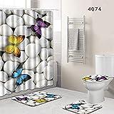 YonganUK - Juego de 4 accesorios de baño para ducha, alfombra antideslizante + tapa para inodoro + alfombra de baño + cortina de ducha con 12 ganchos para accesorios de baño y ducha, White and Yellow, Tamaño libre
