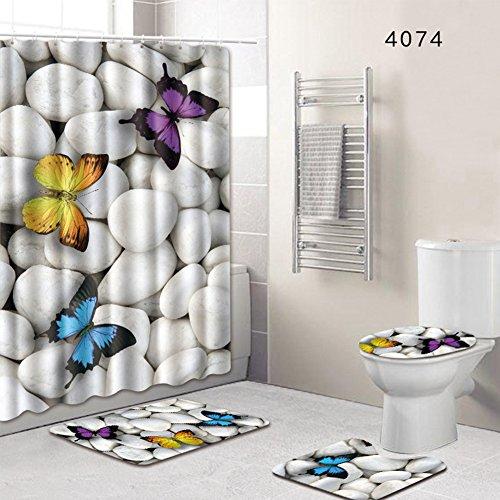 4-teiliges Set Badezimmerteppich, Duschvorleger, Badvorleger, WC-Deckel, Rutschfeste Badezimmer-Duschvorhang-Matte, Stil 4, Free Size