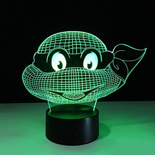 WJPDELP-YEDE Abbildung Teenage Mutant Ninja Turtles Atmosphäre Licht 3D Visuelle Lampe Nachtlicht LED Schlafzimmer Schlafzimmer Hochzeit Dekoration Kind Geschenk Lamparas
