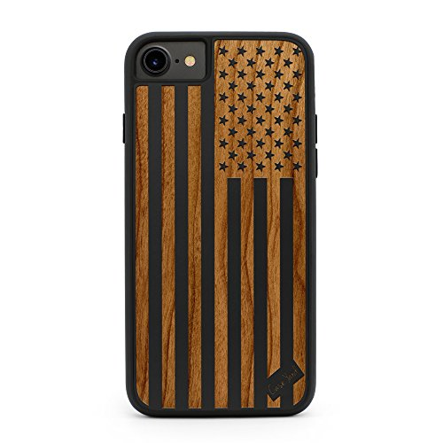 iPhone 8/7 Fall, caseyard Premium Hybrid für Apple iPhone 8/7 Made in Kalifornien (iPhone 8/7 Regular-Protective) (schwarz), US-Flagge (Flagge Fall Kalifornien Iphone)