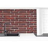 Bilderwelten Küchenrückwand Folie selbstklebend Backsteinwand rot 60 x 400 cm Premium