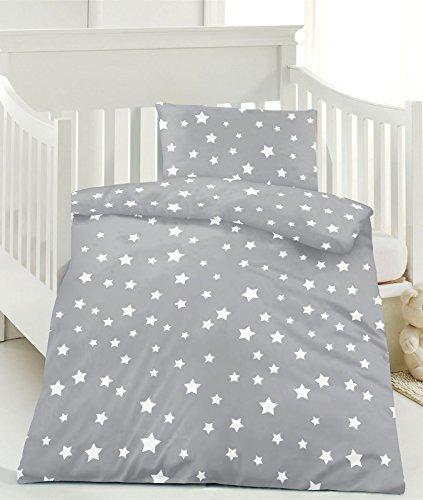 Renforce Kinder Bettwäsche 100x135 Sterne 100% Baumwolle mit Reißverschluss (grau)
