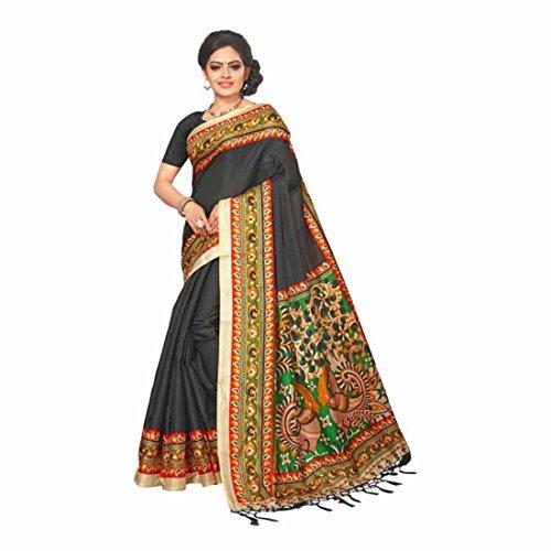 Indian Handicrfats Export Solid, Paisley, Printed Bhagalpuri Silk Saree (Grey, Multicolor) Paisley Printed Silk Dress