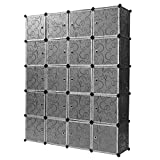 Finether Armadio Armadietto Guardaroba Scaffale Scapiera a cubo, in Bianco e Nero Goffrato (20 Cube)