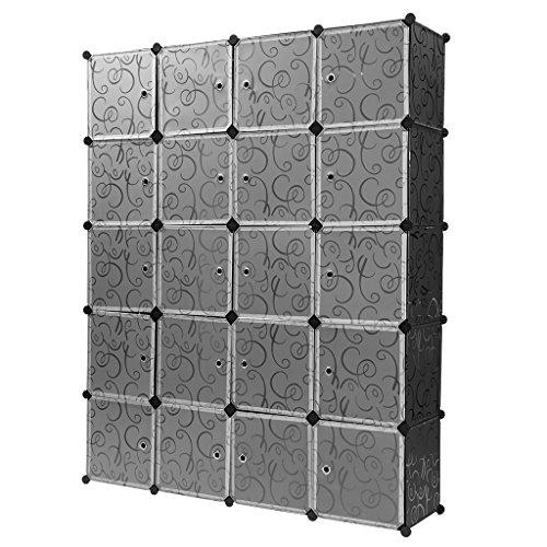 Finether Steckschrank Steckregal Regalsystem Steckregalsystem DIY Cube Regal mit Türen und Kleiderstange aus Kunststoff schwarz & transluzent 20 Fächer 183x147x37cm|...