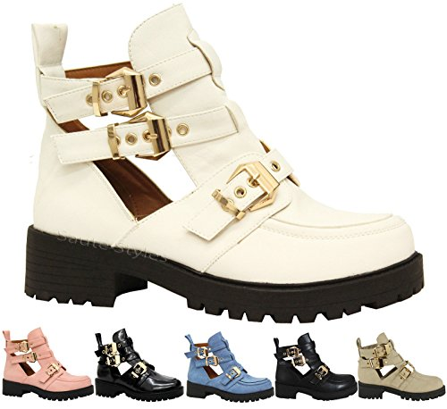 Mesdames Femmes Mid talon boucle sangle Découpe Chunky Biker cheville Chaussures Bottes Taille - - Stone Faux Leather Chunky Punk Buckle, 39.5