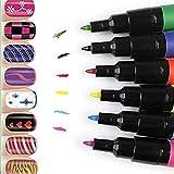 Goldenssy 12 Color Pincel Brocha Pintauñas con Pintura Pintar Gel UV Nail Art Pen Painting Design para Manicura y Pedicura Decoración para Arte de Uña