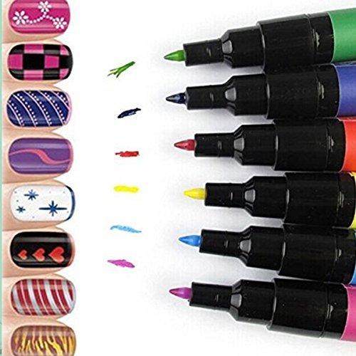 Goldenssy 12 pennarelli colorati per le unghie, con pittura per colorare, gel UV, per Nail Art, speciale per la manicure e la pedicure, decorazione per le