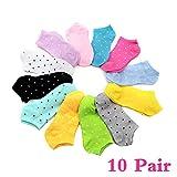 CAOLATOR 10 Pares Calcetines de Algodón Spring Verano Calcetines Cortos Invisibles Moda Calcetines Mujer Color Aleatorio