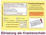 Einladungskarten zum 18. 30. 40. 50. Geburtstag - 30 Stück Einladung als Krankenschein Krankmeldung Arzt Krankschreibung