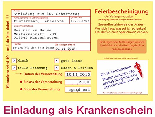 Einladungskarten zum 18. 30. 40. 50. Geburtstag - 30 Stück Einladung als Krankenschein Krankmeldung Arzt Krankschreibung (40. Geburtstag Zum Einladungen)