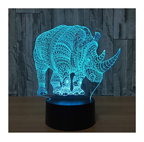 WFTD 3D Nachtlicht, 7 Farbe LED Licht Acryl Material Rhinoceros Stimmungslichter USB Netzteil Nachttischlampe für Kinder,G1 G1 Usb
