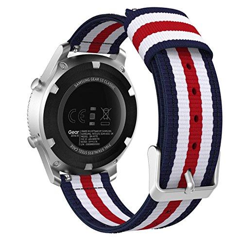 MoKo Gear S3 Watch Cinturino,Braccialetto Regolabile di Ricambio in Nylon Tessuto per Samsung Gear S3 Frontier/Galaxy Watch 46mm/S3 Classic/Moto 360 2nd Gen 46mm/Garmin Vívomove,Blu + Bianco + Rosso