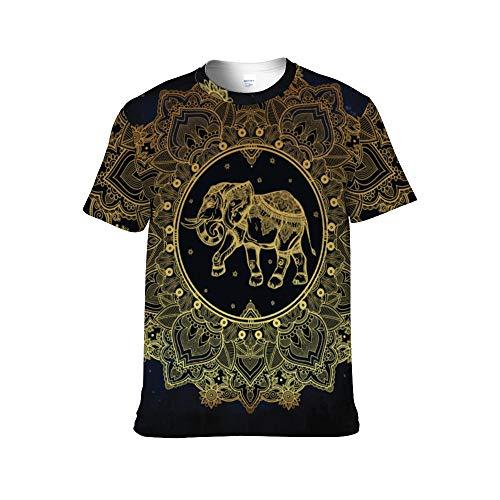 Elefante Indio Camisetas con Estampado Completo para Adultos (Hombres y Mujeres) Personalidad Material de algodón Camisas para Hombres de Manga Corta para Hombres Slim Fit-XXL
