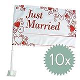 Autoflagge 'Love is in the air', 10 St. - wunderschöne Autoflagge mit 'Just Married' Schriftzug und...