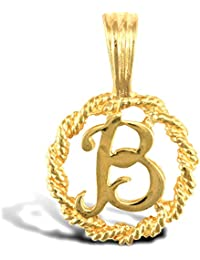 Jewelco London Solid 9ct Yellow Gold Rope Identity Initial Charm Pendant Letter B
