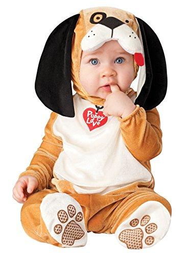 Baby Kostüm Jungen Mädchen Verkleidung Welpe Hund Figur Tier Halloween Weihnachten Fototermin Outfit - Braun, 68-80 - 6-12 Monate