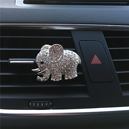 Huertuer Beauty Metal Car Freshener with Elephant Design, Metal, Silver, 5x4cm