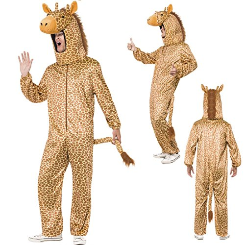 NET TOYS Giraffenkostüm Overall Giraffe Unisex Tierkostüm Jumpsuit Ganzkörperkostüm Karneval Faschingskostüm Tiere Giraffen Ganzkörperanzug Erwachsene