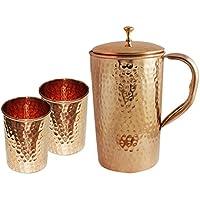 Indio de cobre jarra con 2 vaso de cristal para Ayurvedic de curación ...