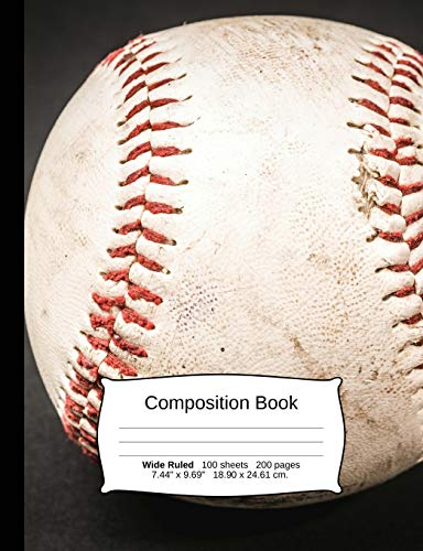 Baseball Composition Notebook, Wide Ruled: Composition Notebook, Lined Student Writing Journal, Exercise Book, 200 pages, 7.44
