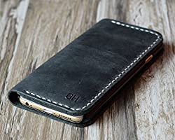Genuine Leather iPhone x / 8 / 8 Plus / iPhone 7 / 7 Plus wallet case iPhone 6 / 6s / 6 plus / 6s Plus wallet case / SE / 5 / 5s case - Italian distressed oiled leather ( gray )