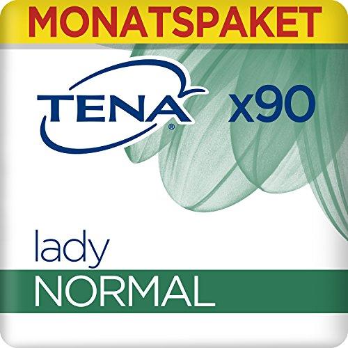 Tena Lady Normal Monatspaket, Geruchsneutralisierende Hygieneeinlagen, für leichte Inkontinenz & Blasenschwäche, 6 x 15 Stück