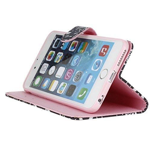 iPhone 6 6S Plus (5,5 Zoll) Étui Housse, Meet de pour Apple iPhone 6 6S Plus (5,5 Zoll) Étui coque Case Cover smart flip cuir Case à rabat Coque de protection Portefeuille - étoile Campanula main