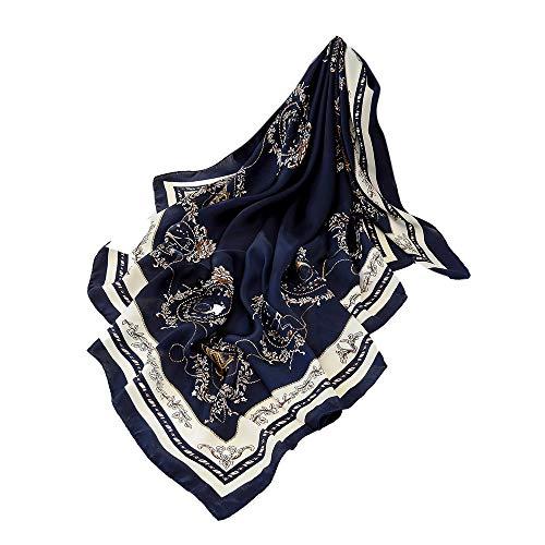 Xmiral Damen Schal Mode Farbverlauf Landschaft Print Long Square Schals(Gelb)